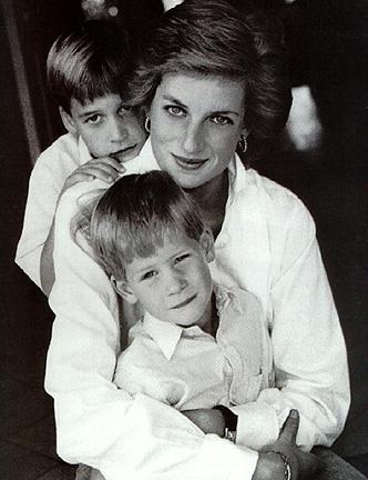Принцеса Даяна с принц Уилям и принц Хари