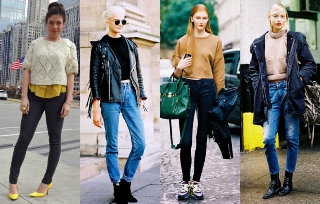 Как да комбинираме късите пуловери с дънки и панталони 2017