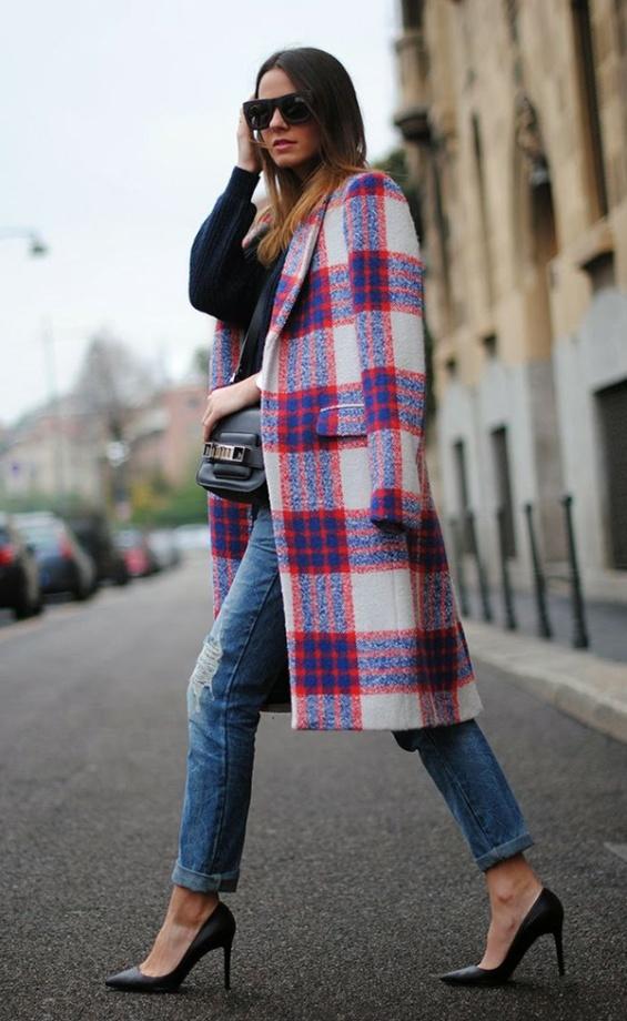 Карирано цветно палто зима 2017