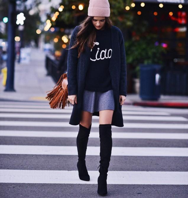 Как да комбинираме чизми с къса пола тази есен и зима