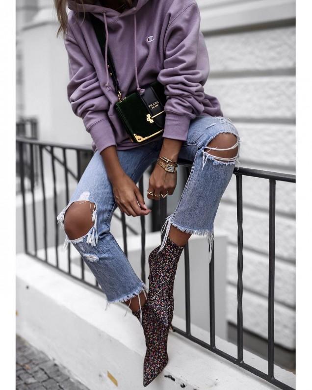 Боти тип чорап с камъни зима 2017
