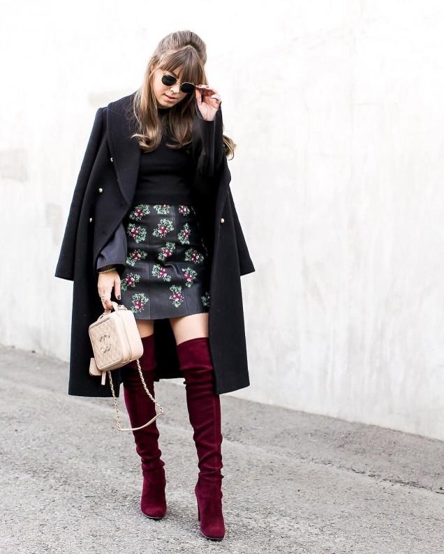 Елегантни с комбинация от чизми и модерна пола зима 2017