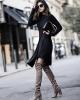 Високи чизми в комбинация с елегантна рокля зима 2017