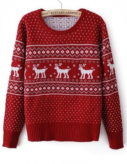 Червен пуловер с еленчета зима 2017